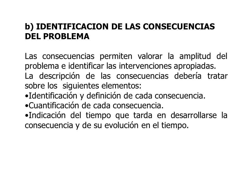 b) IDENTIFICACION DE LAS CONSECUENCIAS DEL PROBLEMA