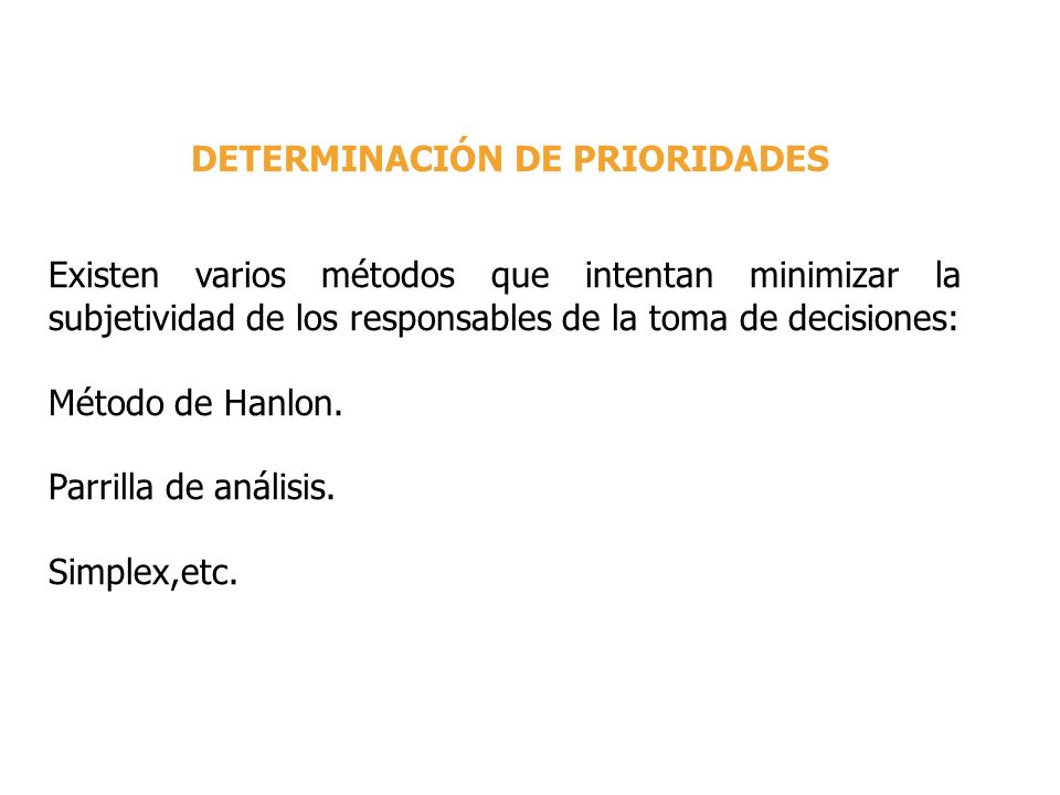 DETERMINACIÓN DE PRIORIDADES