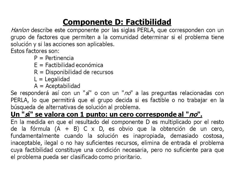Componente D: Factibilidad