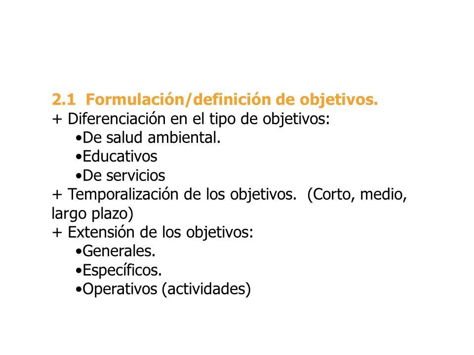 2.1 Formulación/definición de objetivos.
