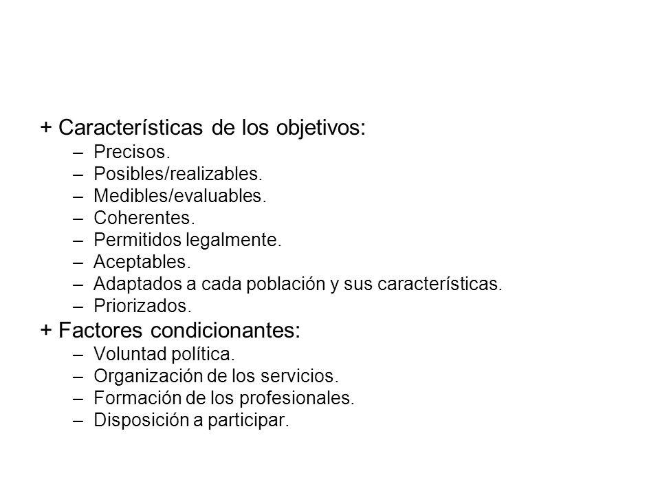 + Características de los objetivos: