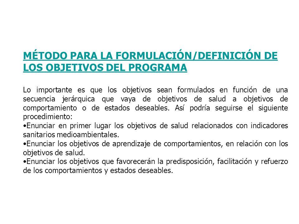 MÉTODO PARA LA FORMULACIÓN/DEFINICIÓN DE LOS OBJETIVOS DEL PROGRAMA