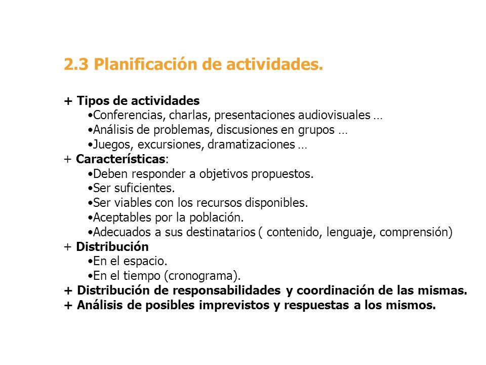 2.3 Planificación de actividades.
