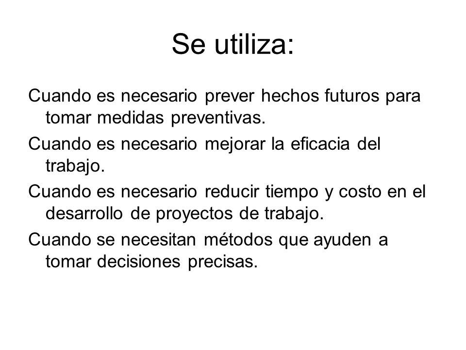 Se utiliza: Cuando es necesario prever hechos futuros para tomar medidas preventivas. Cuando es necesario mejorar la eficacia del trabajo.