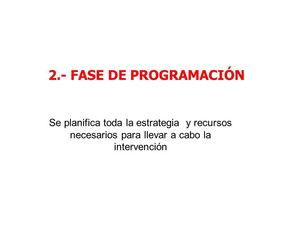 2.- FASE DE PROGRAMACIÓN Se planifica toda la estrategia y recursos necesarios para llevar a cabo la intervención.