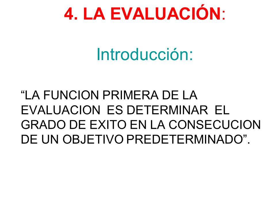4. LA EVALUACIÓN: Introducción: