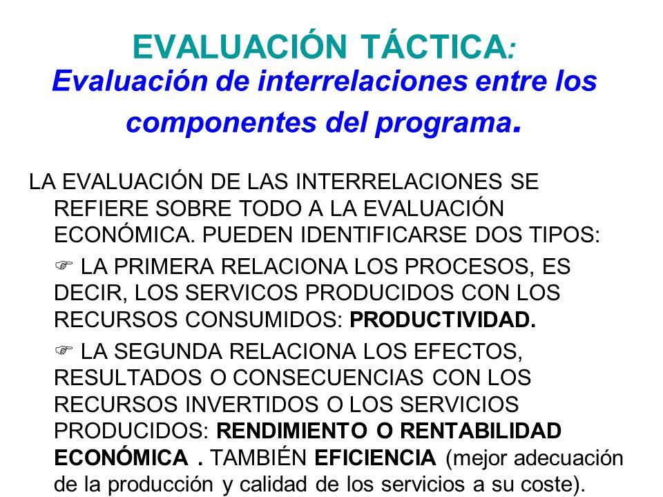 EVALUACIÓN TÁCTICA: Evaluación de interrelaciones entre los componentes del programa.