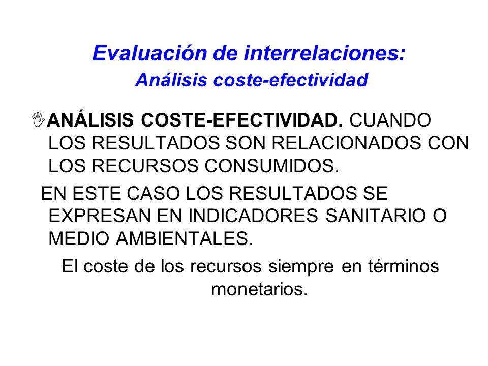 Evaluación de interrelaciones: Análisis coste-efectividad