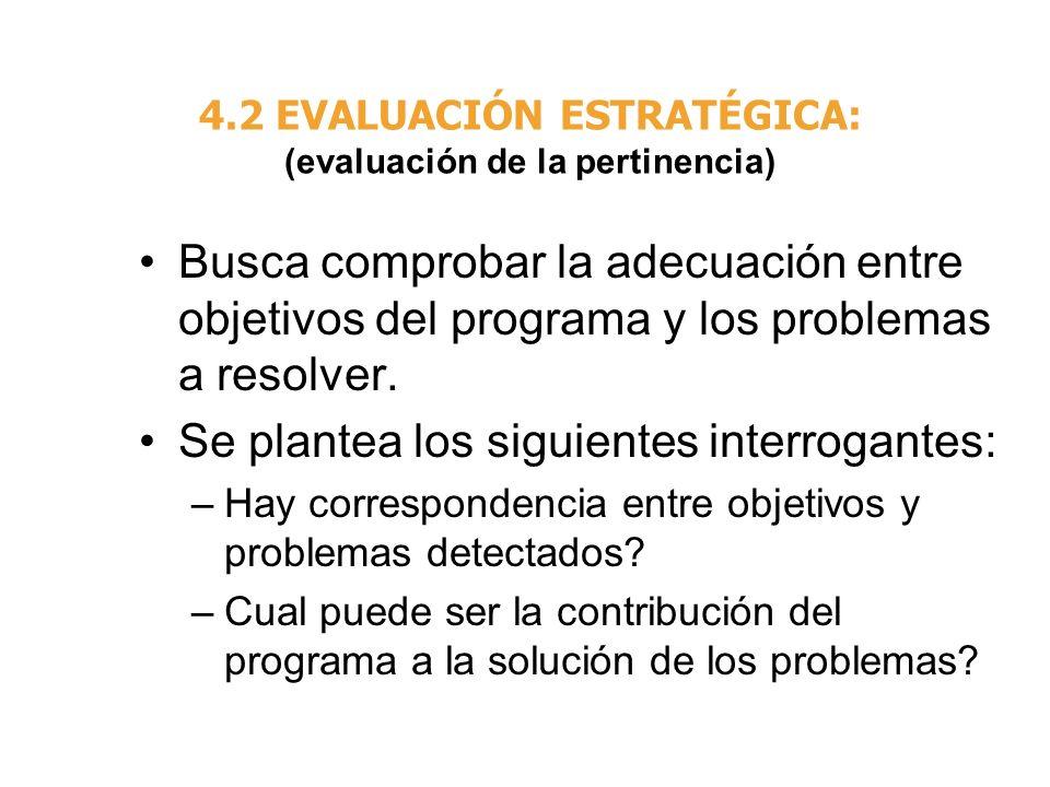 4.2 EVALUACIÓN ESTRATÉGICA: (evaluación de la pertinencia)