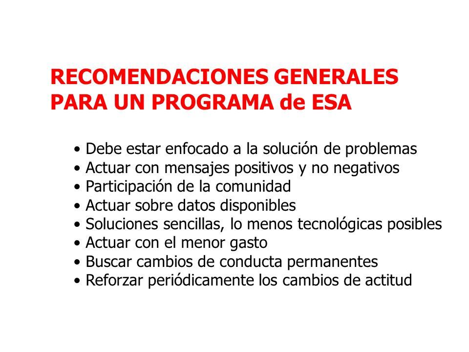 RECOMENDACIONES GENERALES PARA UN PROGRAMA de ESA