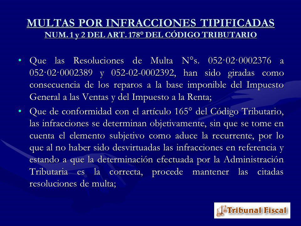MULTAS POR INFRACCIONES TIPIFICADAS NUM. 1 y 2 DEL ART