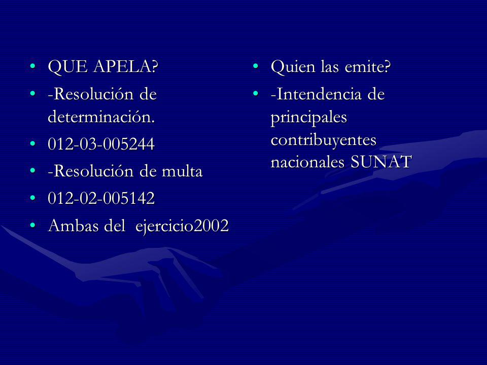 QUE APELA -Resolución de determinación. 012-03-005244. -Resolución de multa. 012-02-005142. Ambas del ejercicio2002.