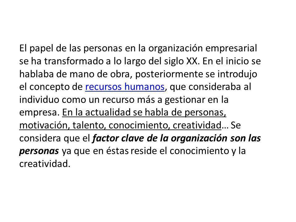 El papel de las personas en la organización empresarial se ha transformado a lo largo del siglo XX.