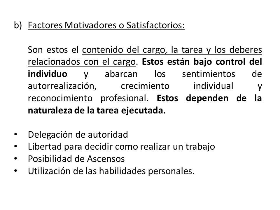 Factores Motivadores o Satisfactorios: