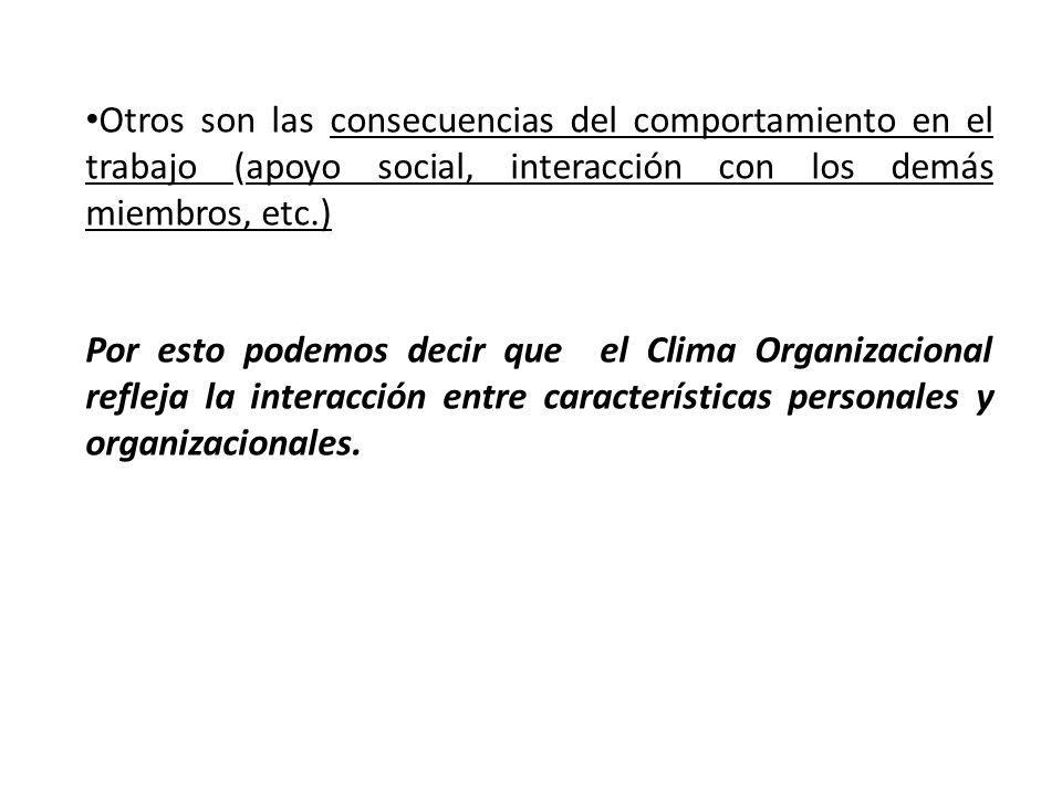 Otros son las consecuencias del comportamiento en el trabajo (apoyo social, interacción con los demás miembros, etc.)