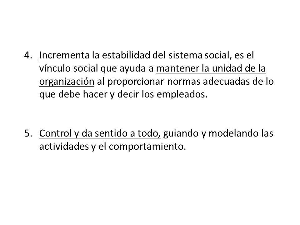 Incrementa la estabilidad del sistema social, es el vínculo social que ayuda a mantener la unidad de la organización al proporcionar normas adecuadas de lo que debe hacer y decir los empleados.