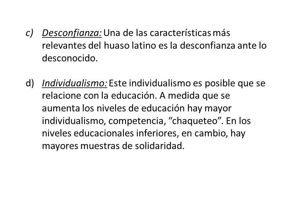 Desconfianza: Una de las características más relevantes del huaso latino es la desconfianza ante lo desconocido.