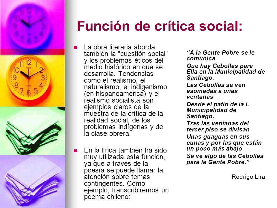 Función de crítica social:
