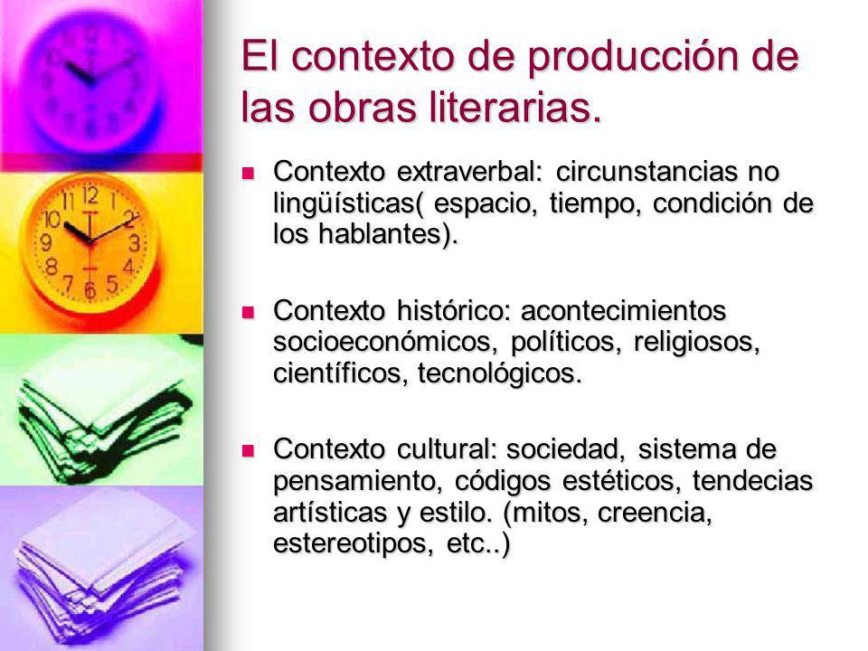 El contexto de producción de las obras literarias.