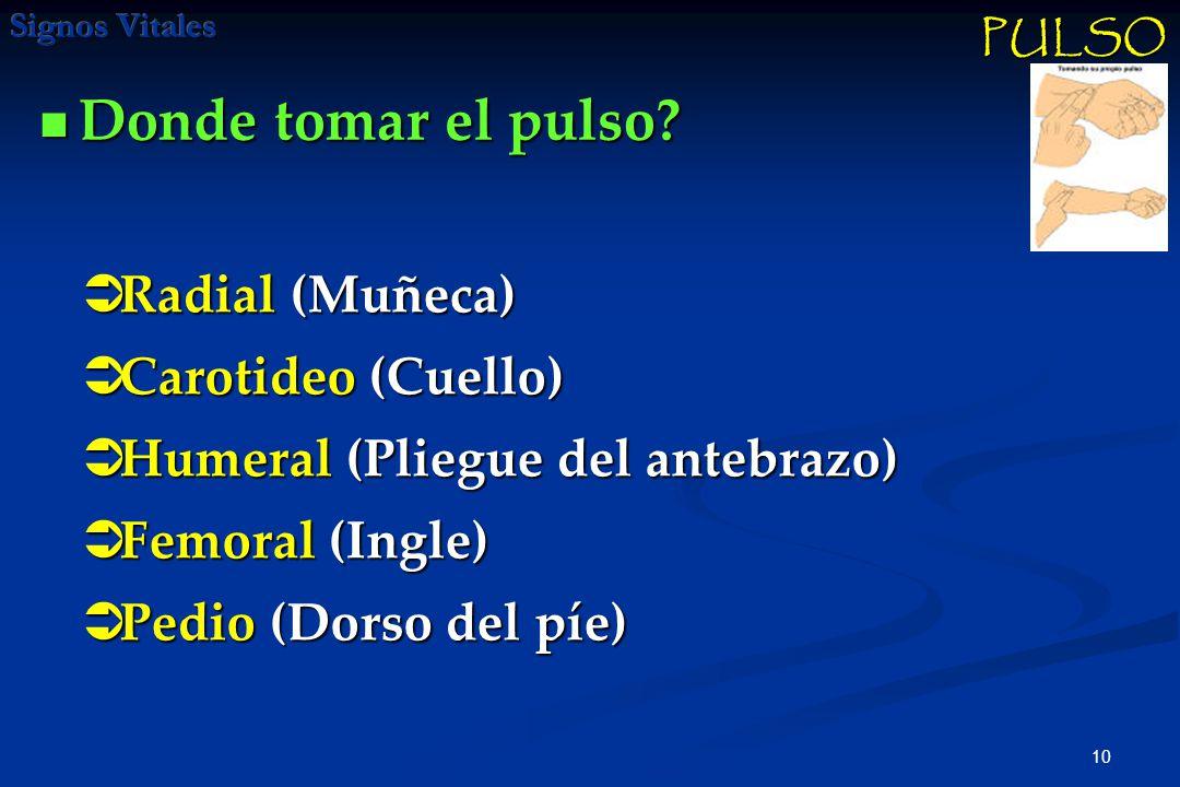 Donde tomar el pulso Radial (Muñeca) Carotideo (Cuello)