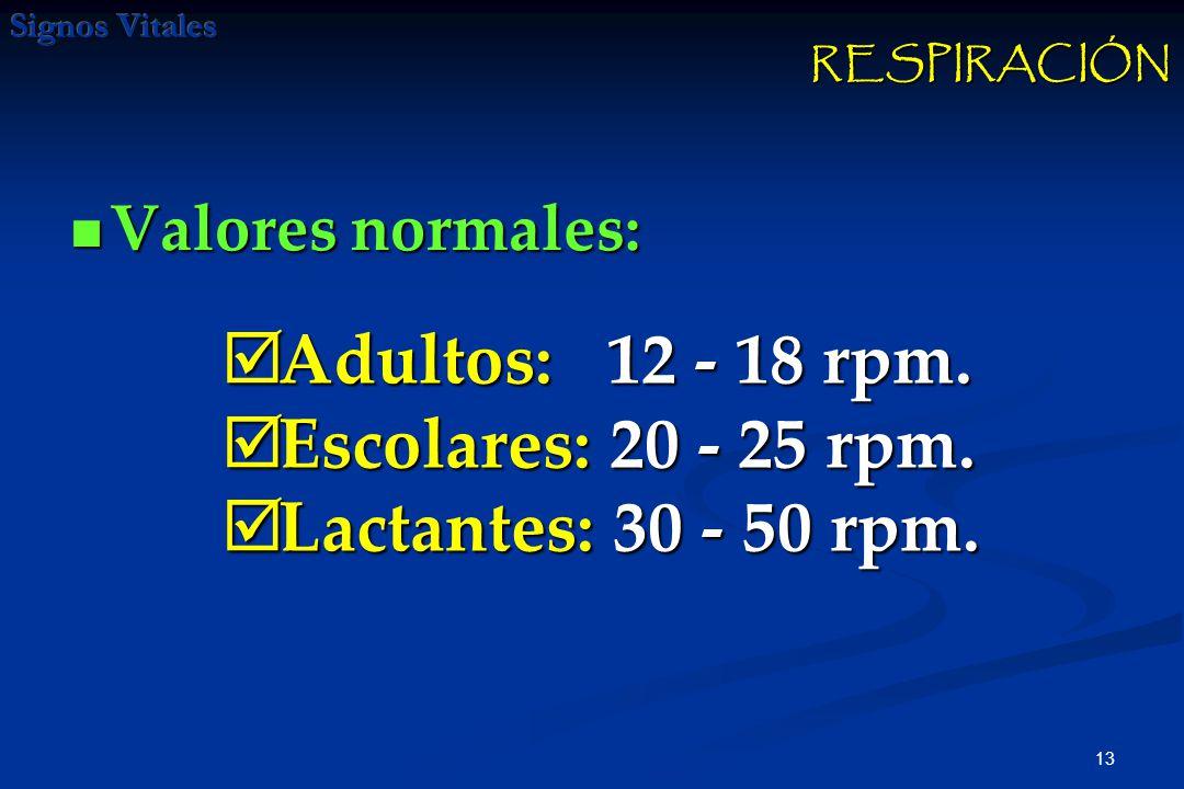 Adultos: 12 - 18 rpm. Escolares: 20 - 25 rpm. Lactantes: 30 - 50 rpm.