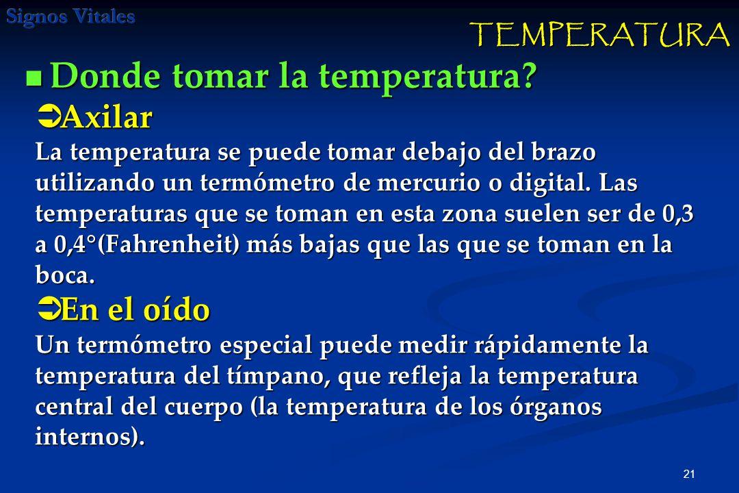 Donde tomar la temperatura