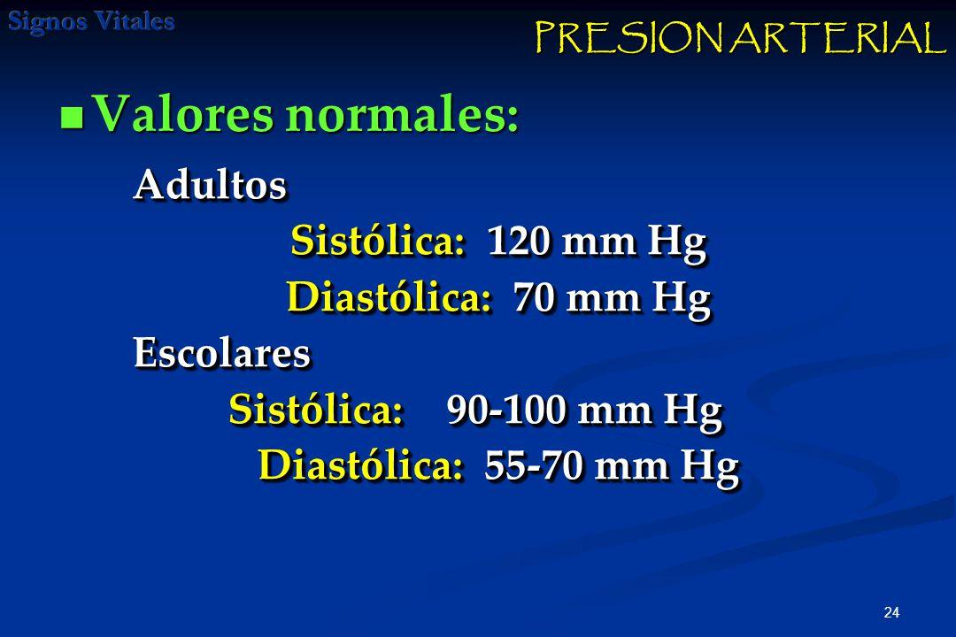 Valores normales: Adultos Sistólica: 120 mm Hg Diastólica: 70 mm Hg
