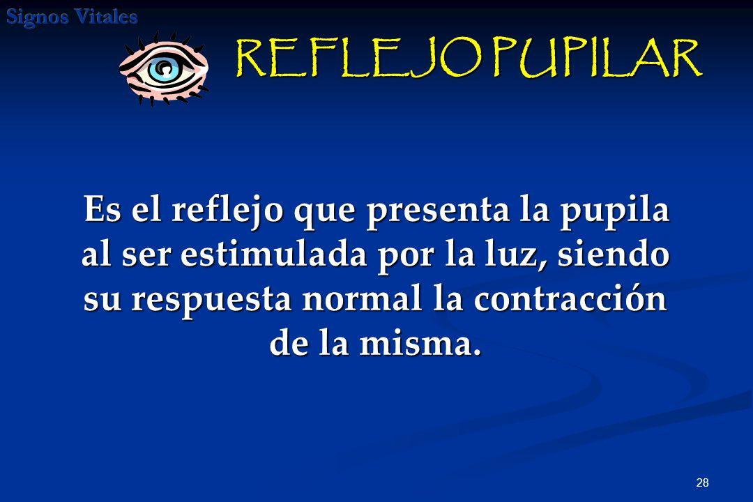 REFLEJO PUPILAR Es el reflejo que presenta la pupila al ser estimulada por la luz, siendo su respuesta normal la contracción de la misma.
