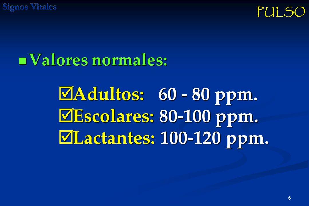 Adultos: 60 - 80 ppm. Escolares: 80-100 ppm. Lactantes: 100-120 ppm.
