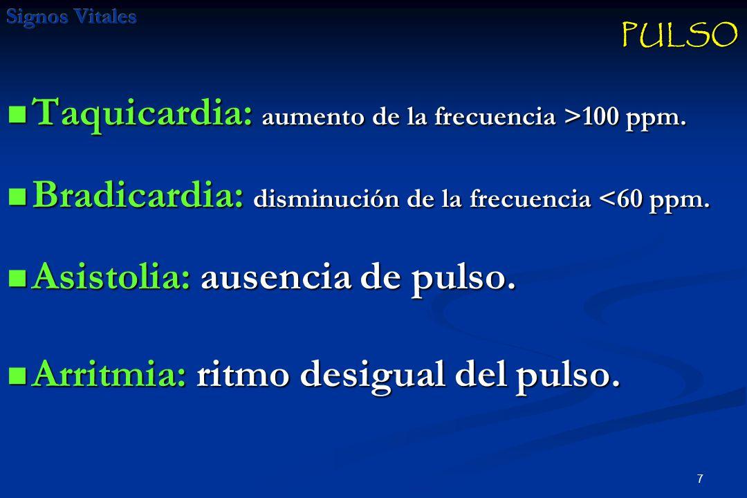 Taquicardia: aumento de la frecuencia >100 ppm.