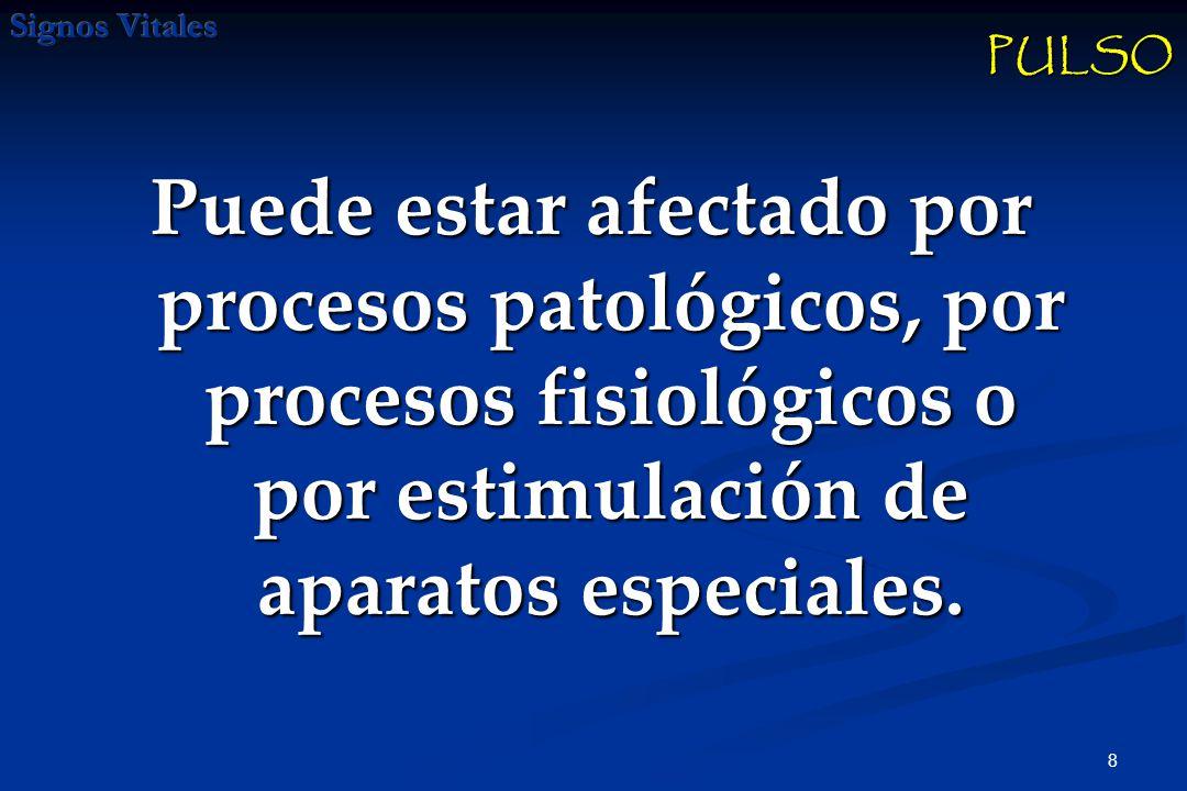 PULSO Puede estar afectado por procesos patológicos, por procesos fisiológicos o por estimulación de aparatos especiales.
