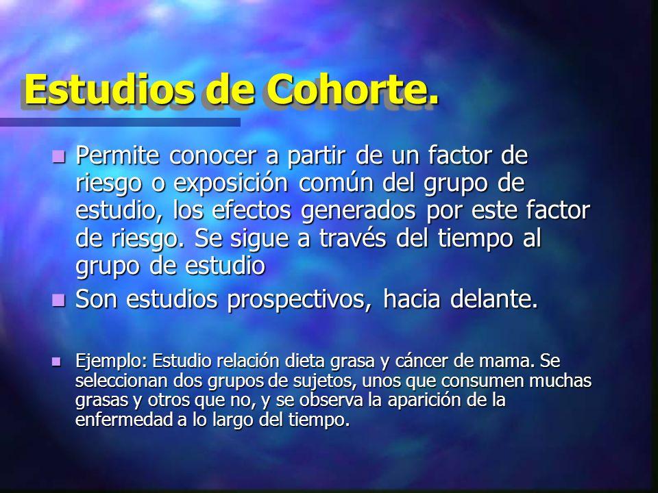 Estudios de Cohorte.