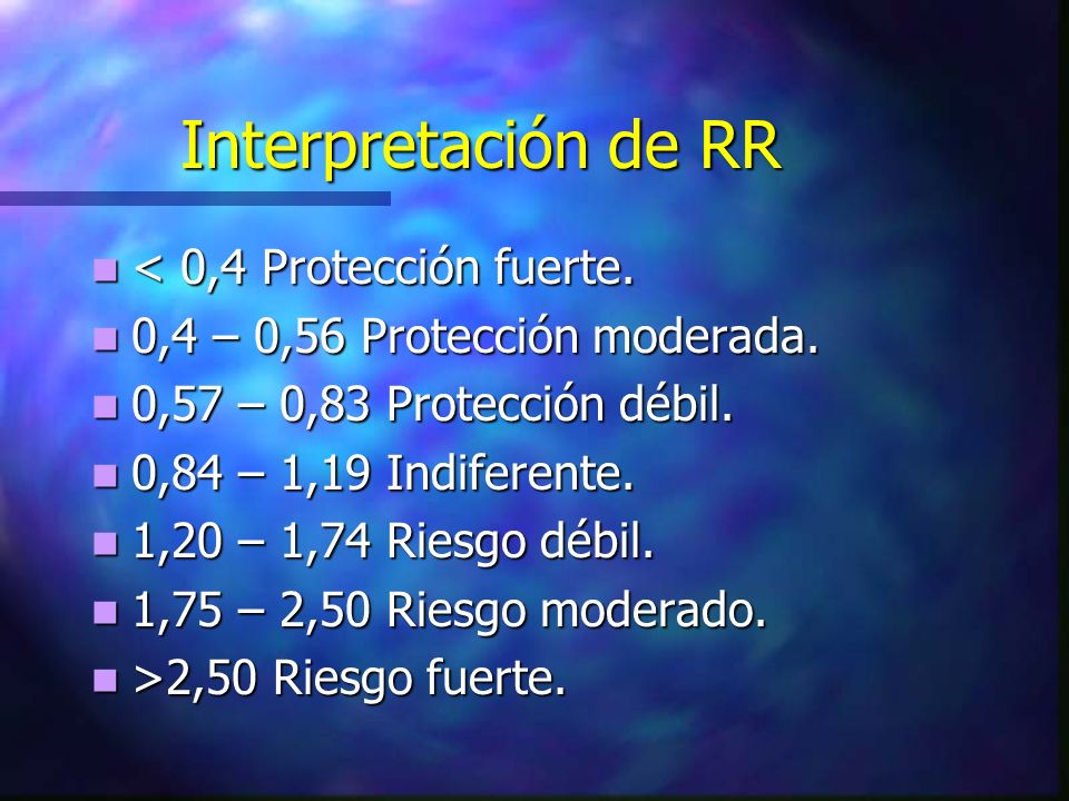 Interpretación de RR < 0,4 Protección fuerte.