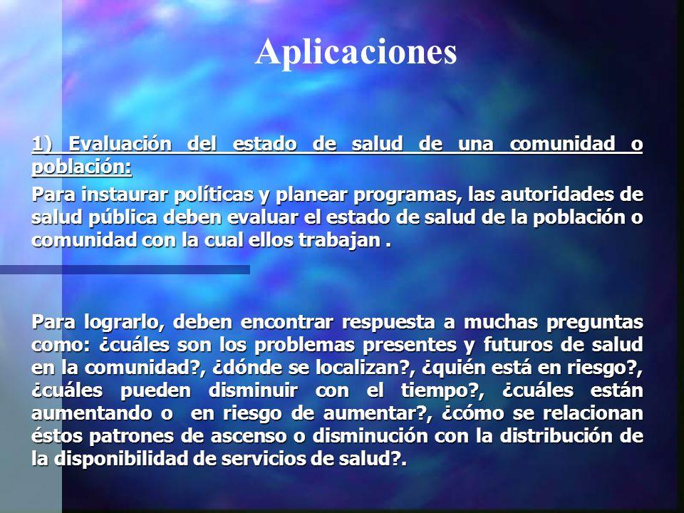 Aplicaciones 1) Evaluación del estado de salud de una comunidad o población:
