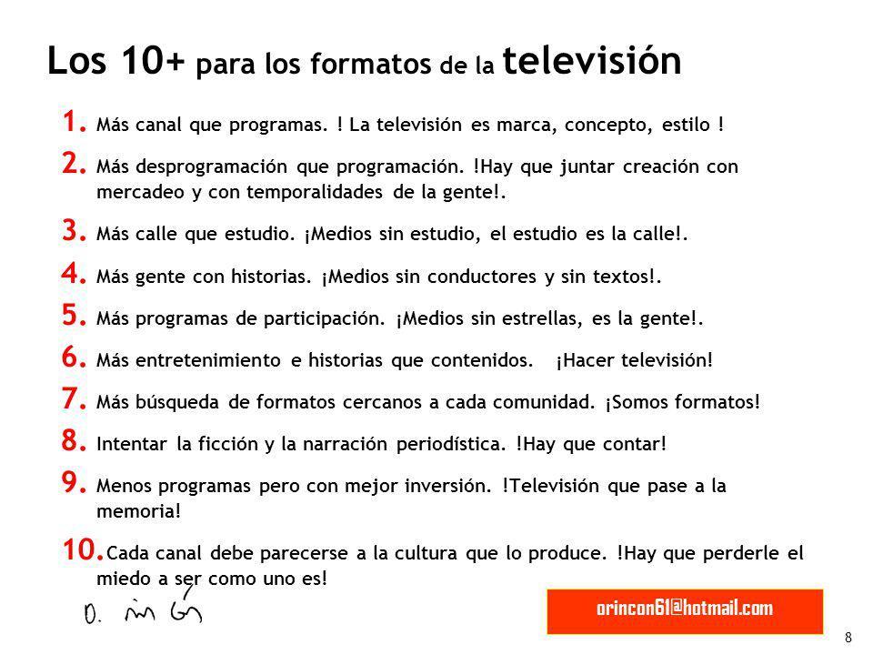 Los 10+ para los formatos de la televisión