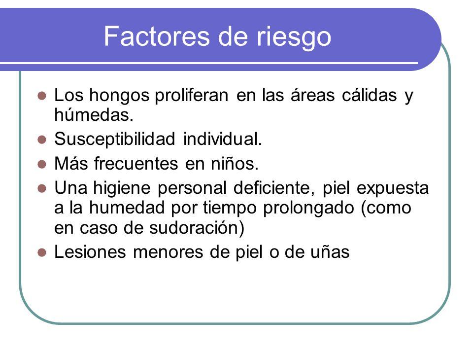 Factores de riesgo Los hongos proliferan en las áreas cálidas y húmedas. Susceptibilidad individual.