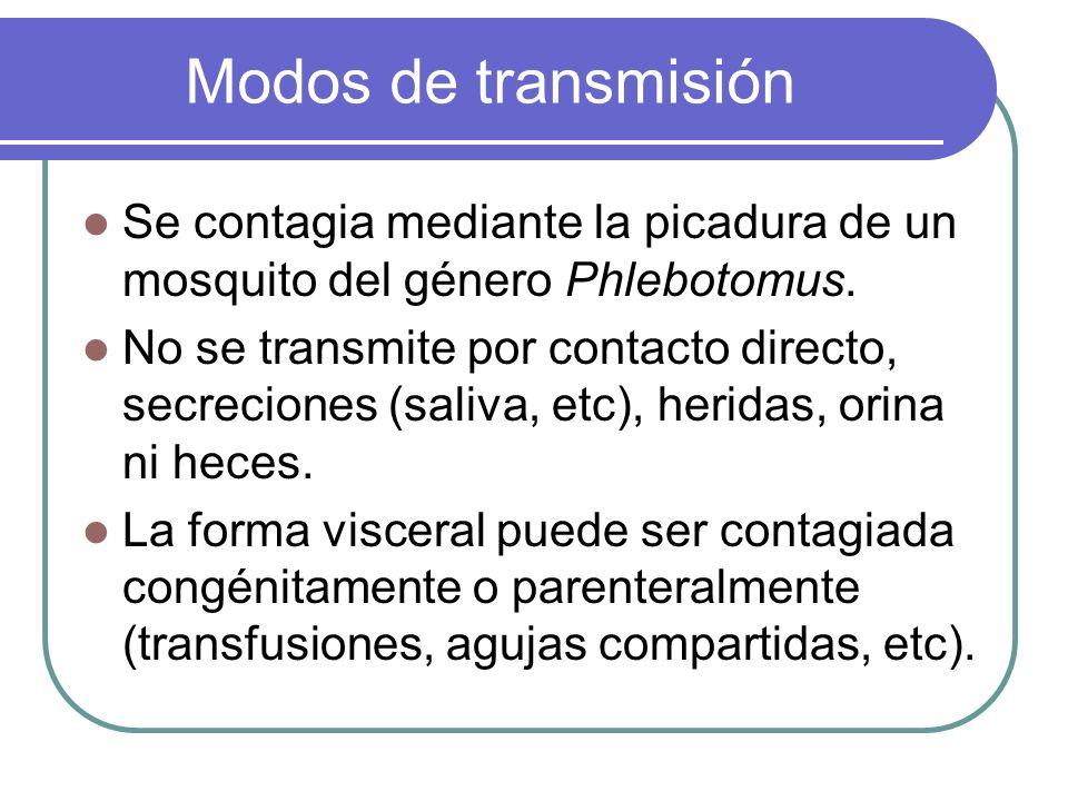 Modos de transmisiónSe contagia mediante la picadura de un mosquito del género Phlebotomus.