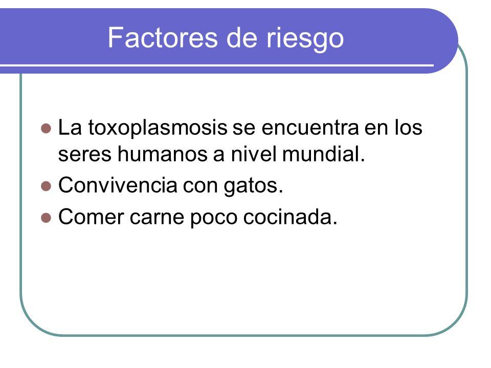 Factores de riesgo La toxoplasmosis se encuentra en los seres humanos a nivel mundial. Convivencia con gatos.