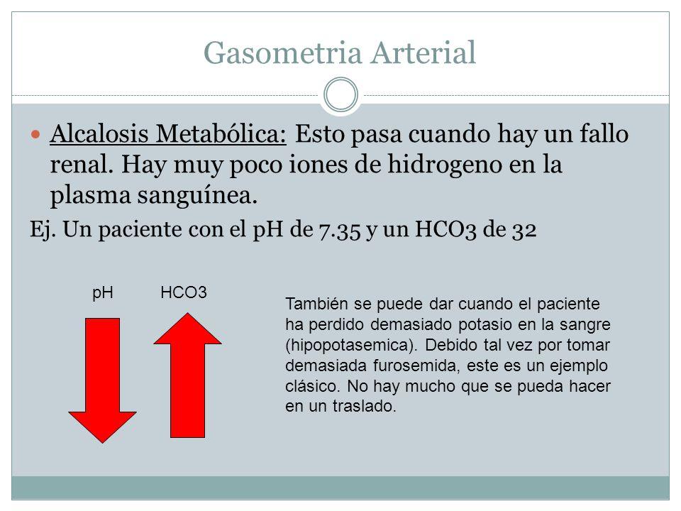 Gasometria Arterial Alcalosis Metabólica: Esto pasa cuando hay un fallo renal. Hay muy poco iones de hidrogeno en la plasma sanguínea.