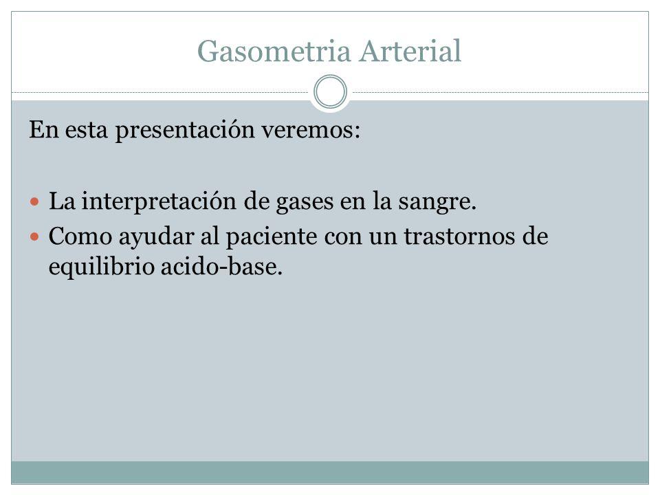 Gasometria Arterial En esta presentación veremos: