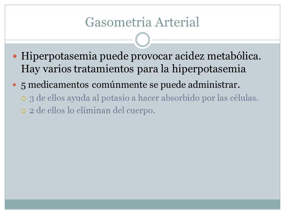 Gasometria Arterial Hiperpotasemia puede provocar acidez metabólica. Hay varios tratamientos para la hiperpotasemia.