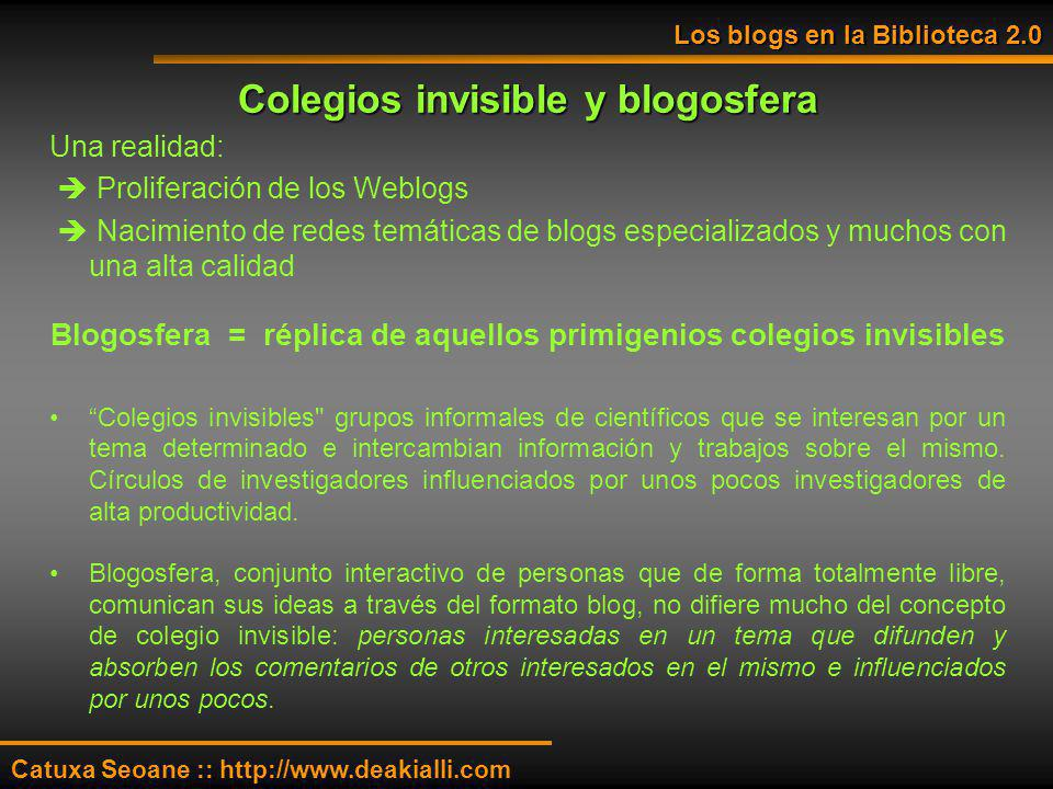 Colegios invisible y blogosfera