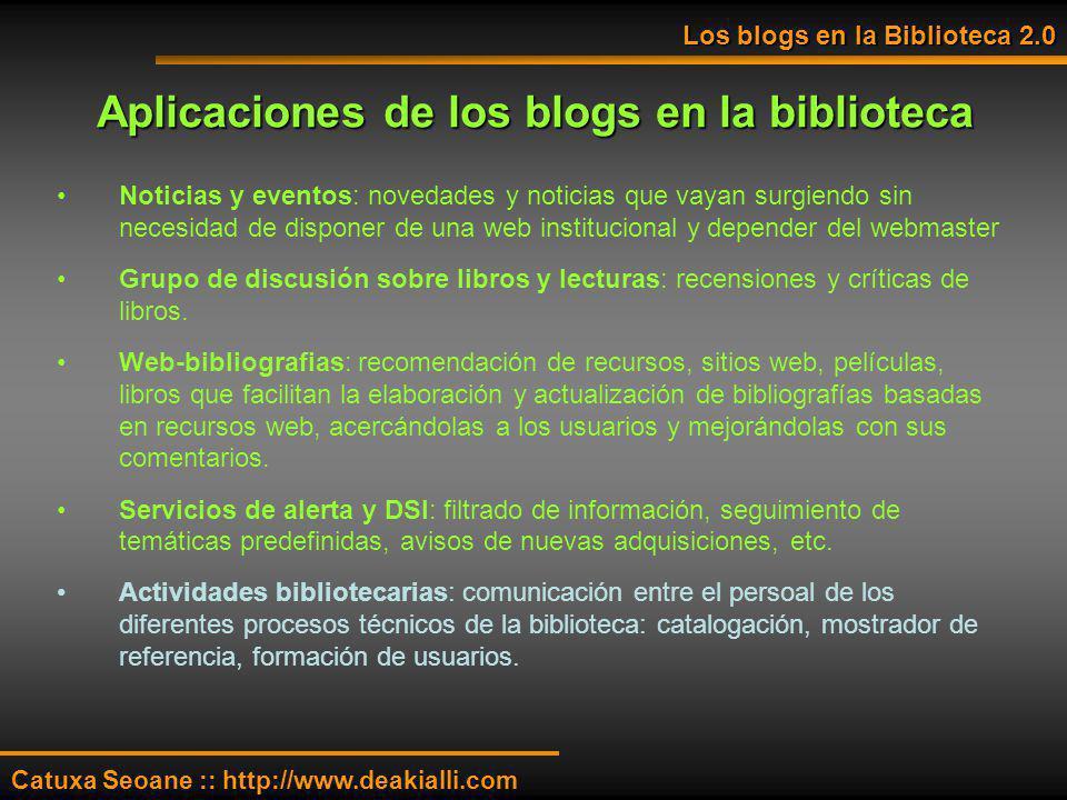 Aplicaciones de los blogs en la biblioteca