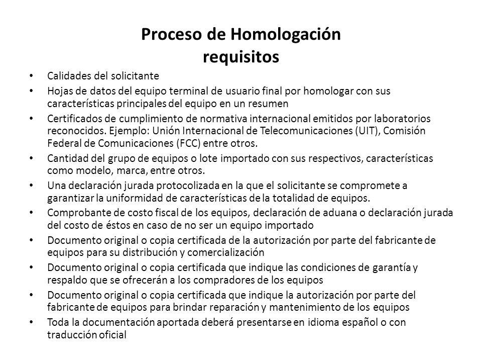 Proceso de Homologación requisitos