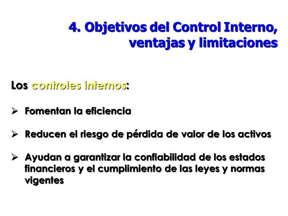 4. Objetivos del Control Interno, ventajas y limitaciones