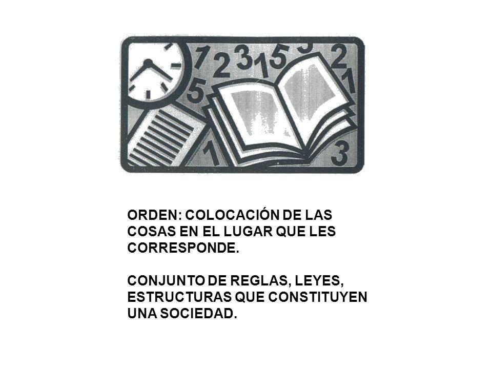 ORDEN: COLOCACIÓN DE LAS COSAS EN EL LUGAR QUE LES CORRESPONDE.
