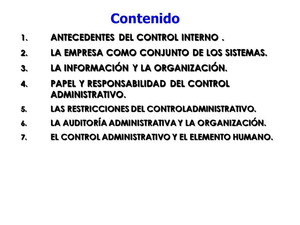Contenido ANTECEDENTES DEL CONTROL INTERNO .