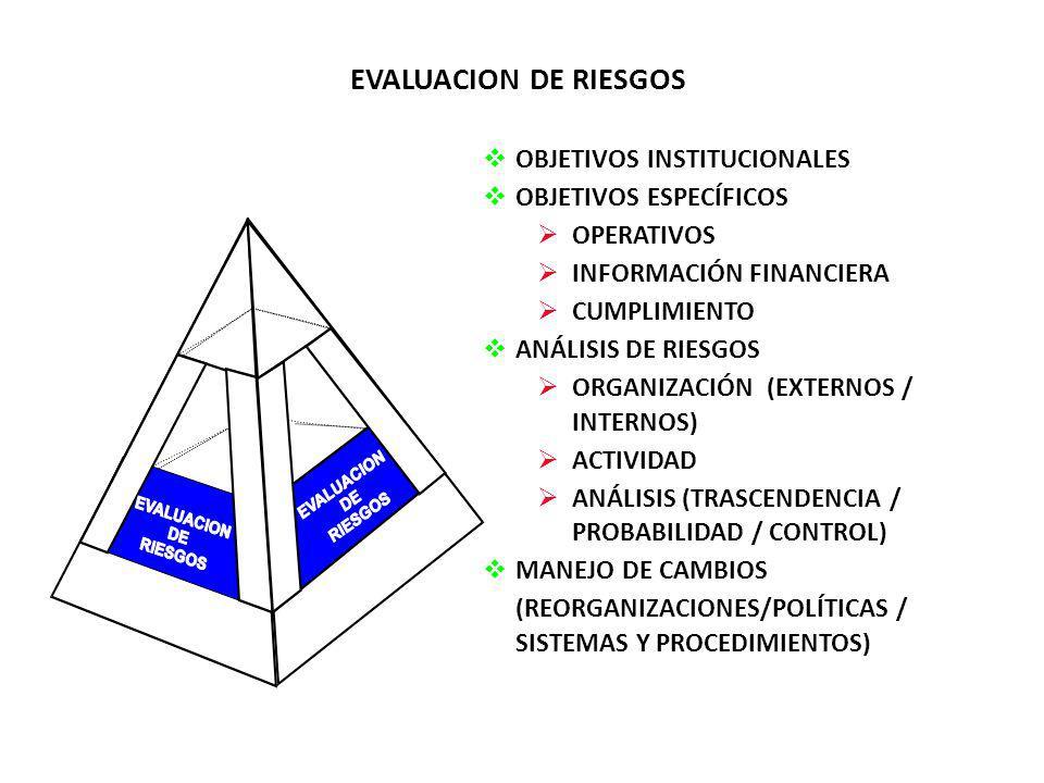 EVALUACION DE RIESGOS OBJETIVOS INSTITUCIONALES OBJETIVOS ESPECÍFICOS