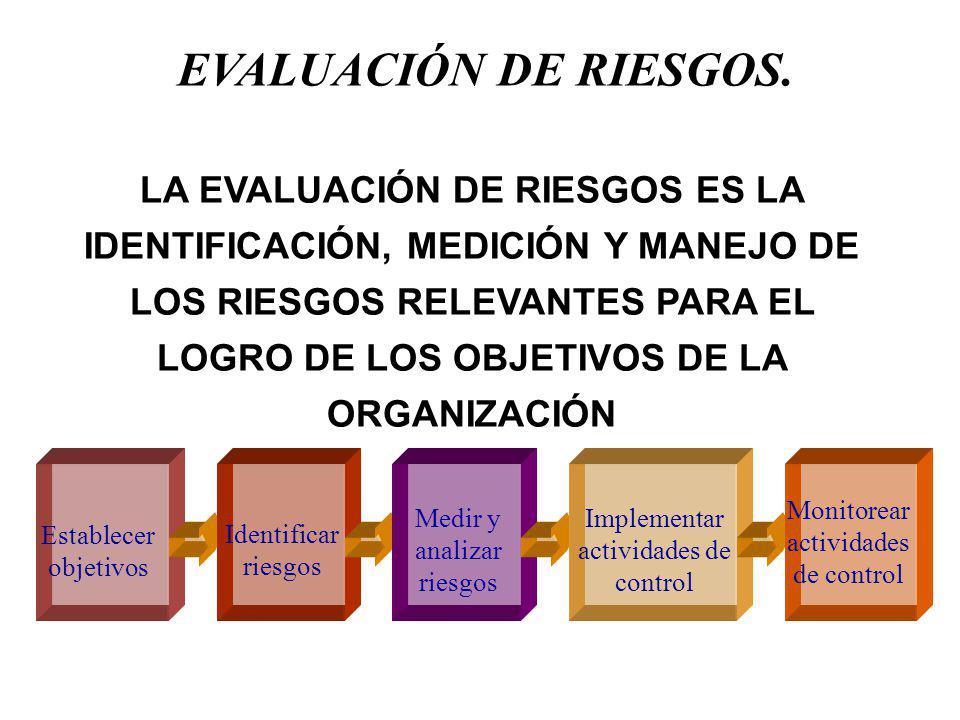 Generalidades de la Evaluación de Riesgos Administración de Riesgos