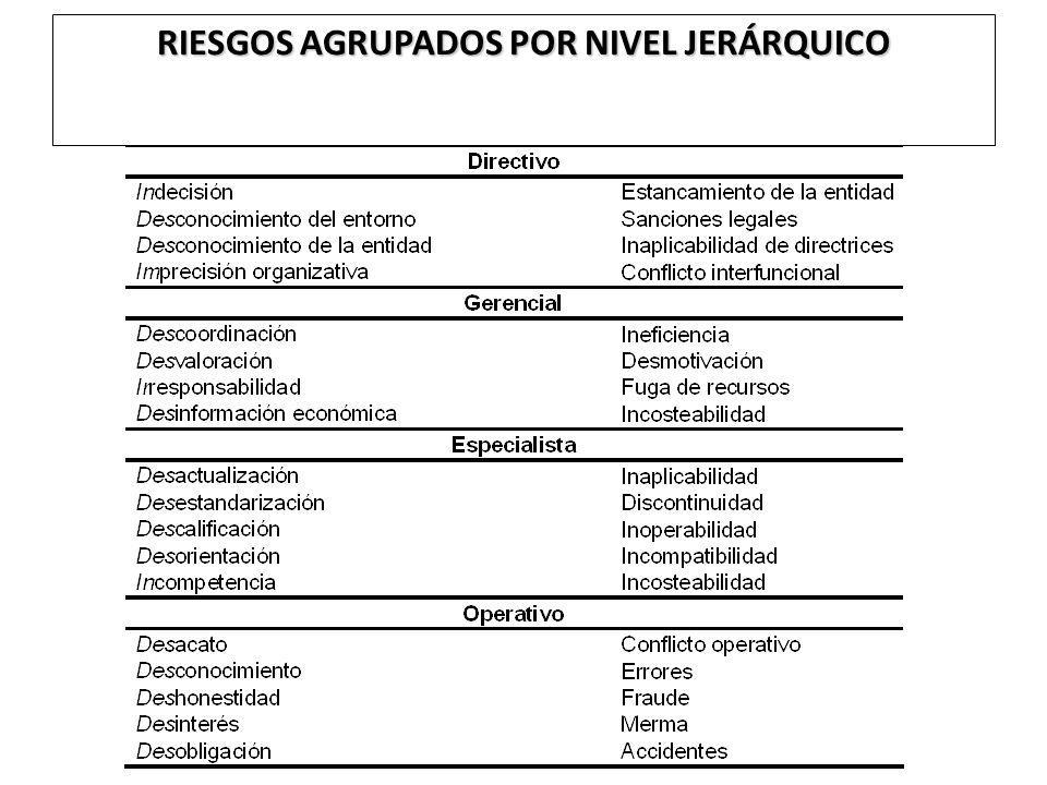 RIESGOS AGRUPADOS POR NIVEL JERÁRQUICO